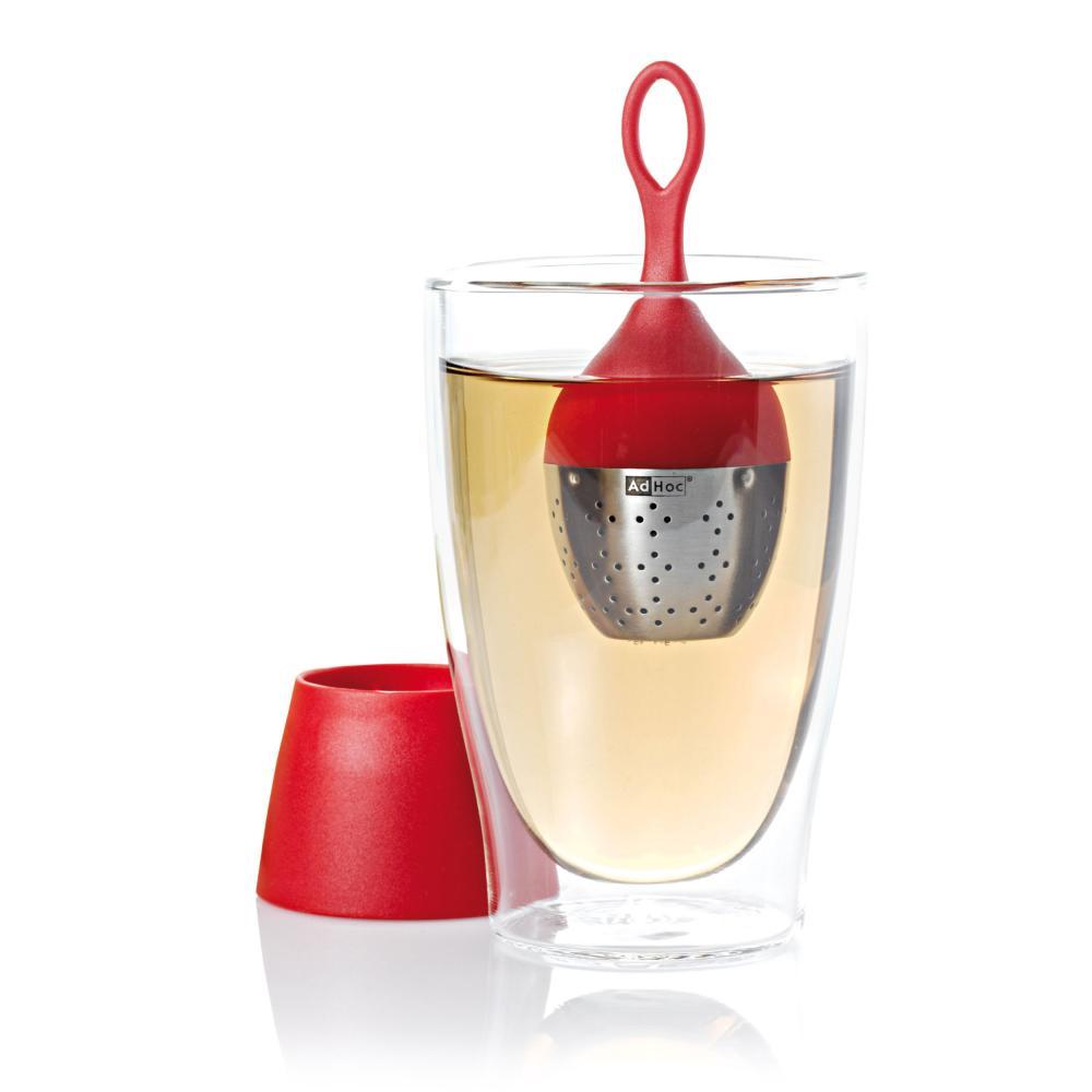 ADHOC tè ospizio Tee-uovo Floatea a portata di mano in acciaio INOX rosso in nylon 13 cm