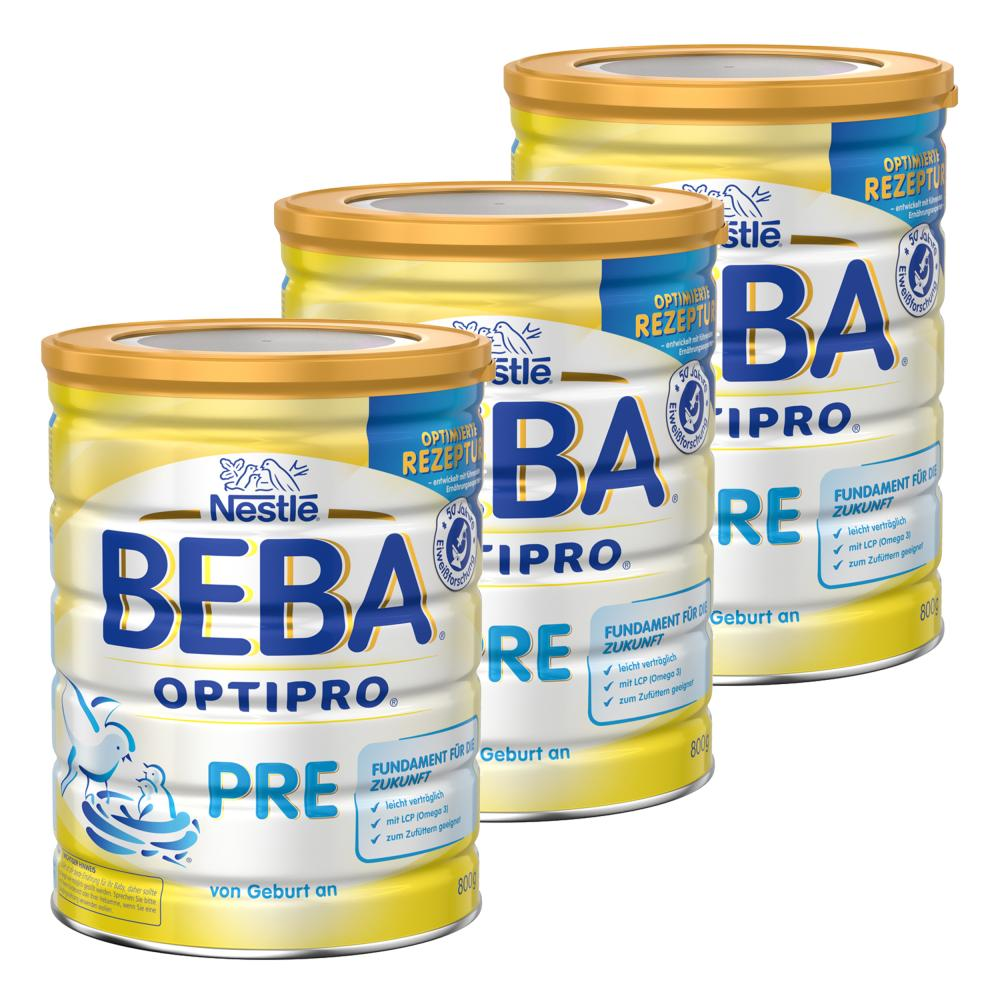 Nestlé BEBA Optipro Pre Säugling Milch Babynahrung Anfangsmilch Dose 3 x 800 g