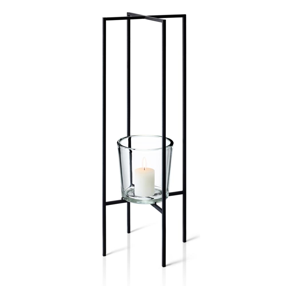 Blomus Nero Freestanding Candle Holder Candlestick Decoration Steel/Glass 80 cm