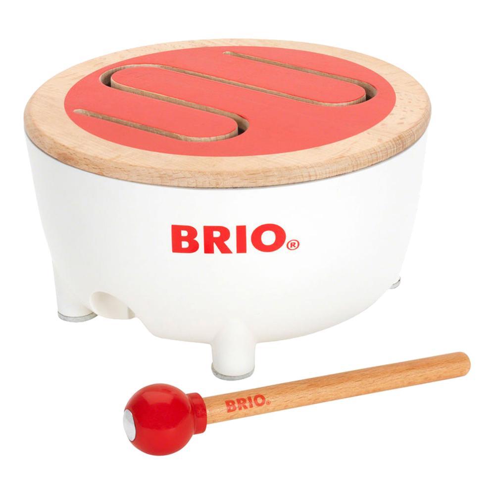 BRIO-tamburo-con-DRUMSTICK-strumento-in-legno-tamburo-drum-GIOCATTOLO-IN-LEGNO-BAMBINO