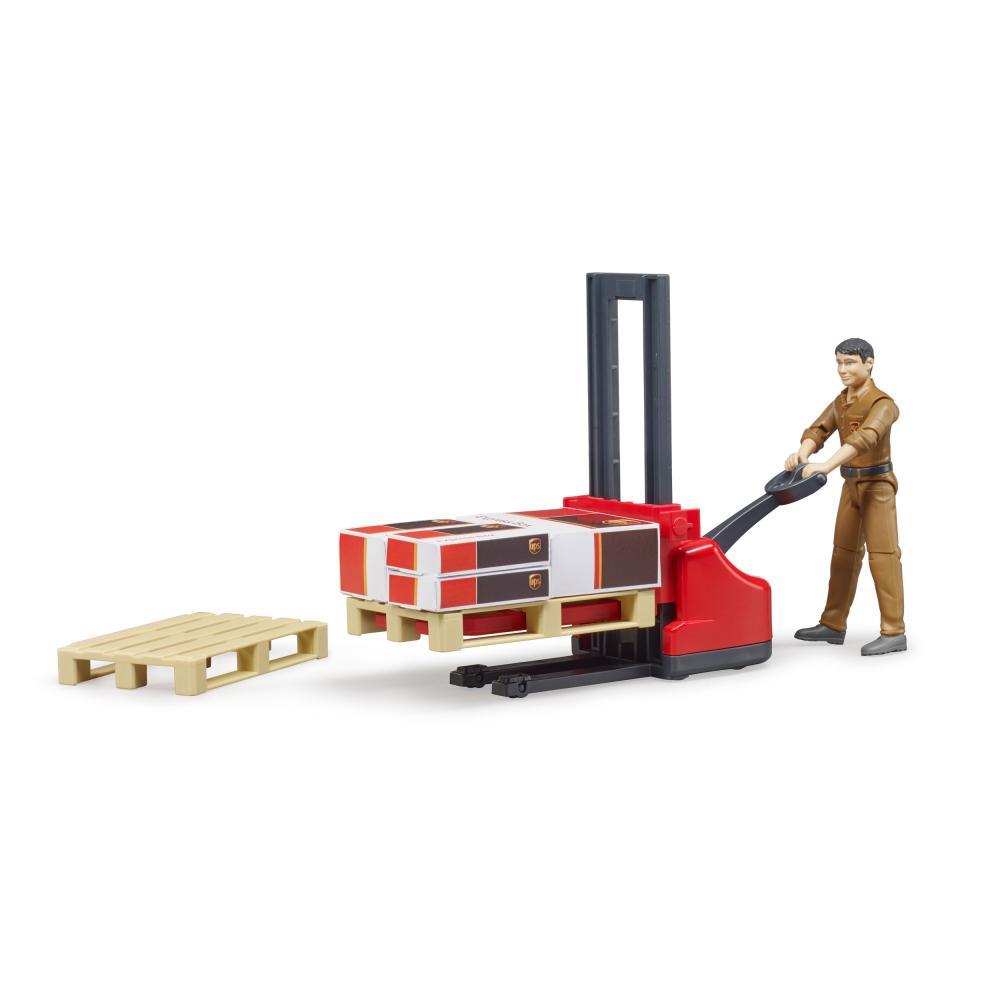 Bruder-bworld-Figurenset-Logistik-UPS-Spielfigur-Hubwagen-Modell-Spielzeug