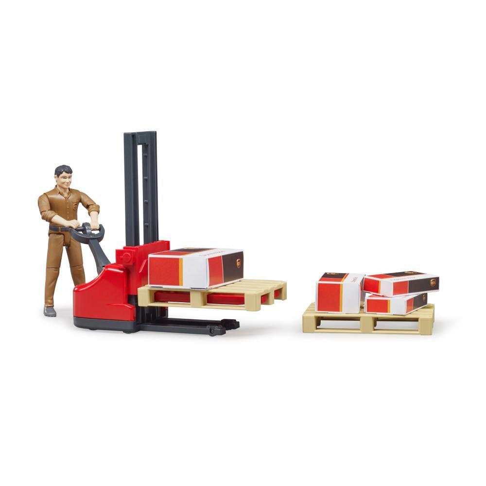 miniatura 2 - Bruder-bworld-Figurenset-Logistik-UPS-Spielfigur-Hubwagen-Modell-Spielzeug