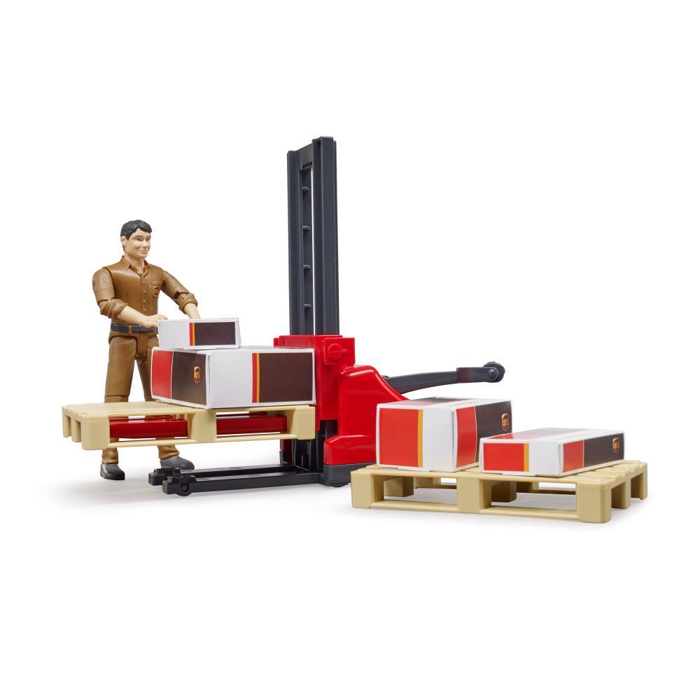 miniatura 3 - Bruder-bworld-Figurenset-Logistik-UPS-Spielfigur-Hubwagen-Modell-Spielzeug