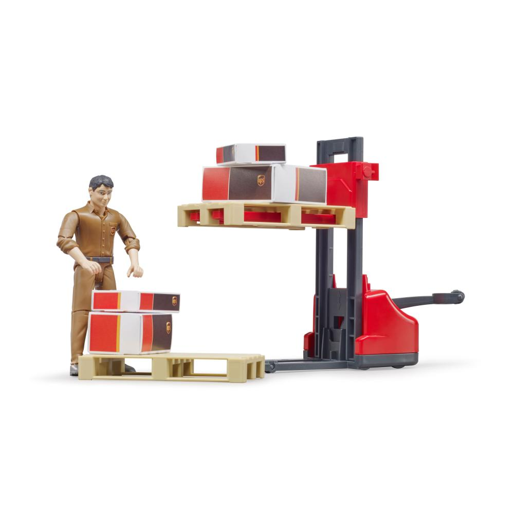 miniatura 4 - Bruder-bworld-Figurenset-Logistik-UPS-Spielfigur-Hubwagen-Modell-Spielzeug