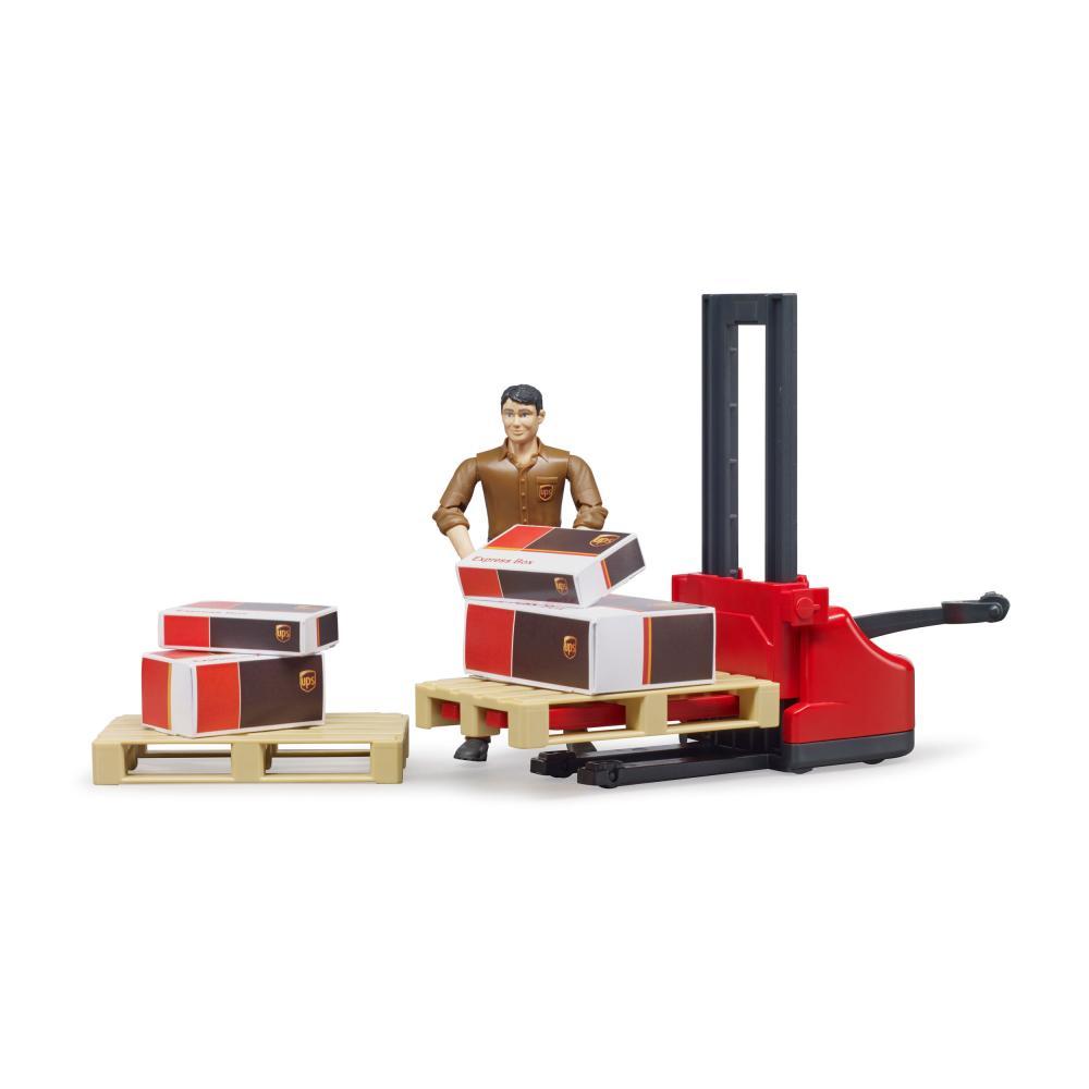 miniatura 5 - Bruder-bworld-Figurenset-Logistik-UPS-Spielfigur-Hubwagen-Modell-Spielzeug