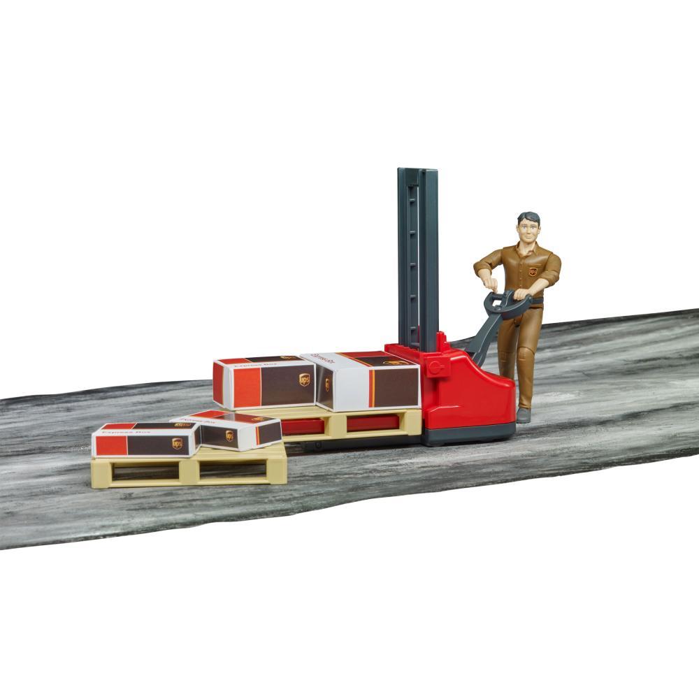 miniatura 6 - Bruder-bworld-Figurenset-Logistik-UPS-Spielfigur-Hubwagen-Modell-Spielzeug