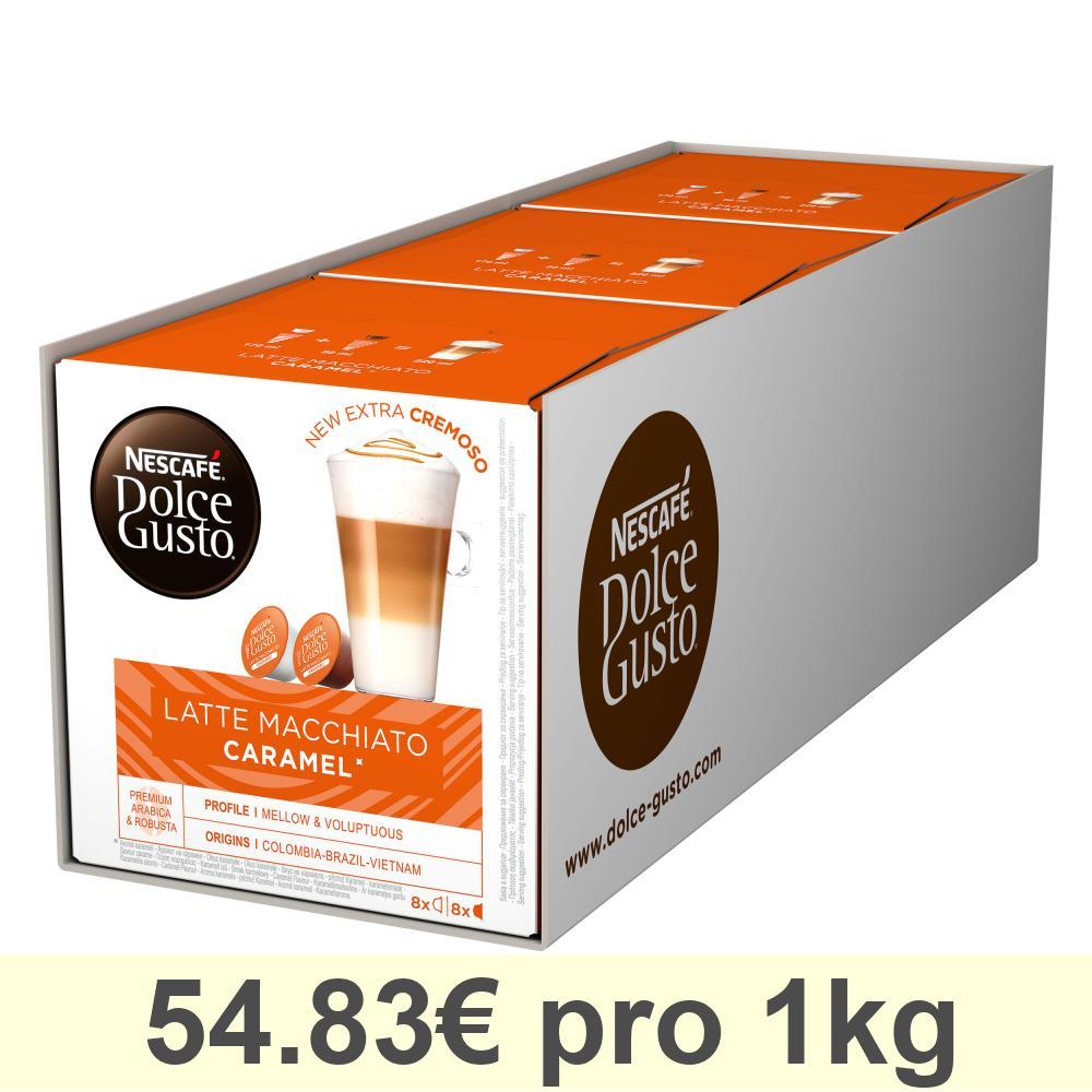 Nescafé DOLCE GUSTO Caramel Latte Macchiato, Karamell, Kaffee, 3 x 16 KAPSELN