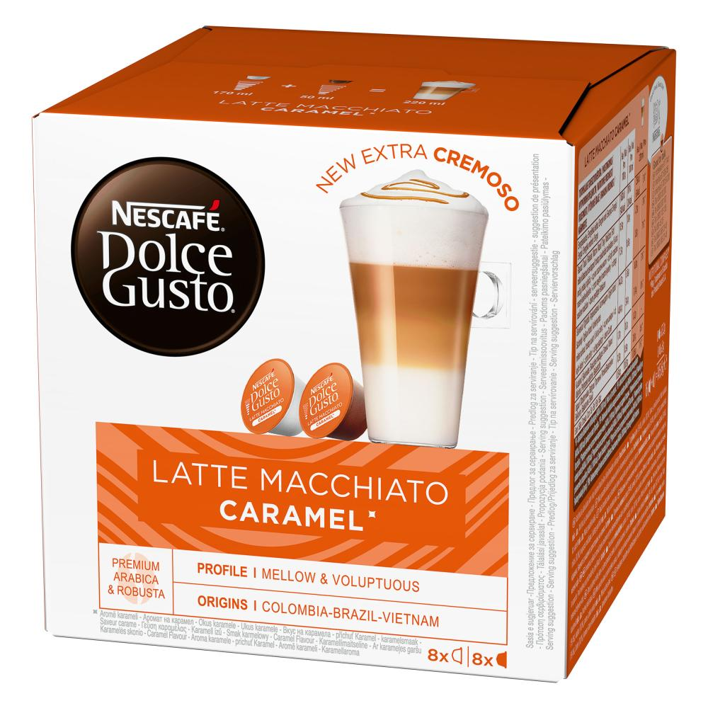 Nescafe-DOLCE-GUSTO-Caramel-Latte-Macchiato-Karamell-Kaffee-3-x-16-KAPSELN Indexbild 2