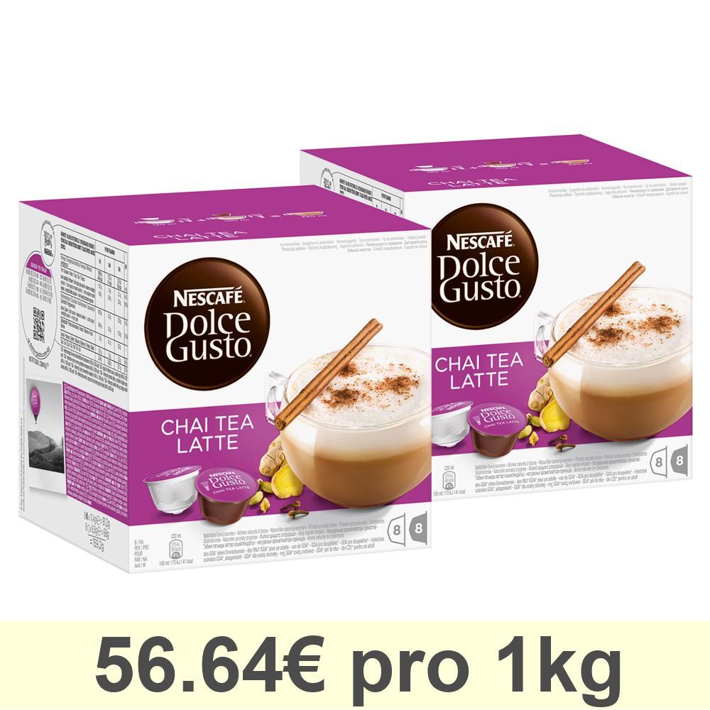 Nescafé DOLCE GUSTO Chai Tea Latte Tee, 2er Pack, 2 x 16 KAPSELN (16 Portionen)