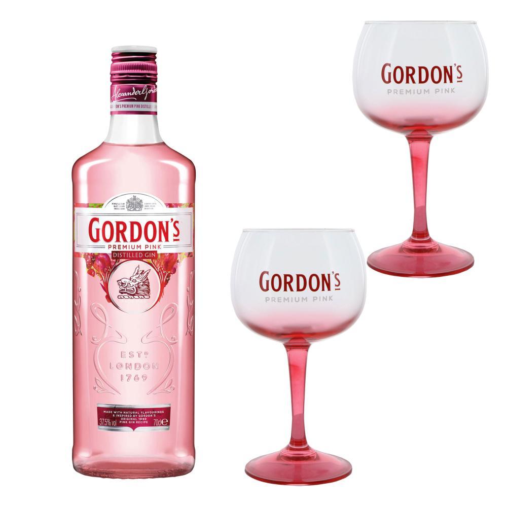 Gordons Premium Pink Distilled Gin Set mit 2 Gläsern Alkohol Flasche 37.5% 700ml