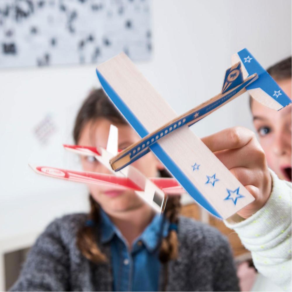 Donkey Products para bucle Stars red D 7 aviones de madera madera balsa rojo 16 x 20 cm