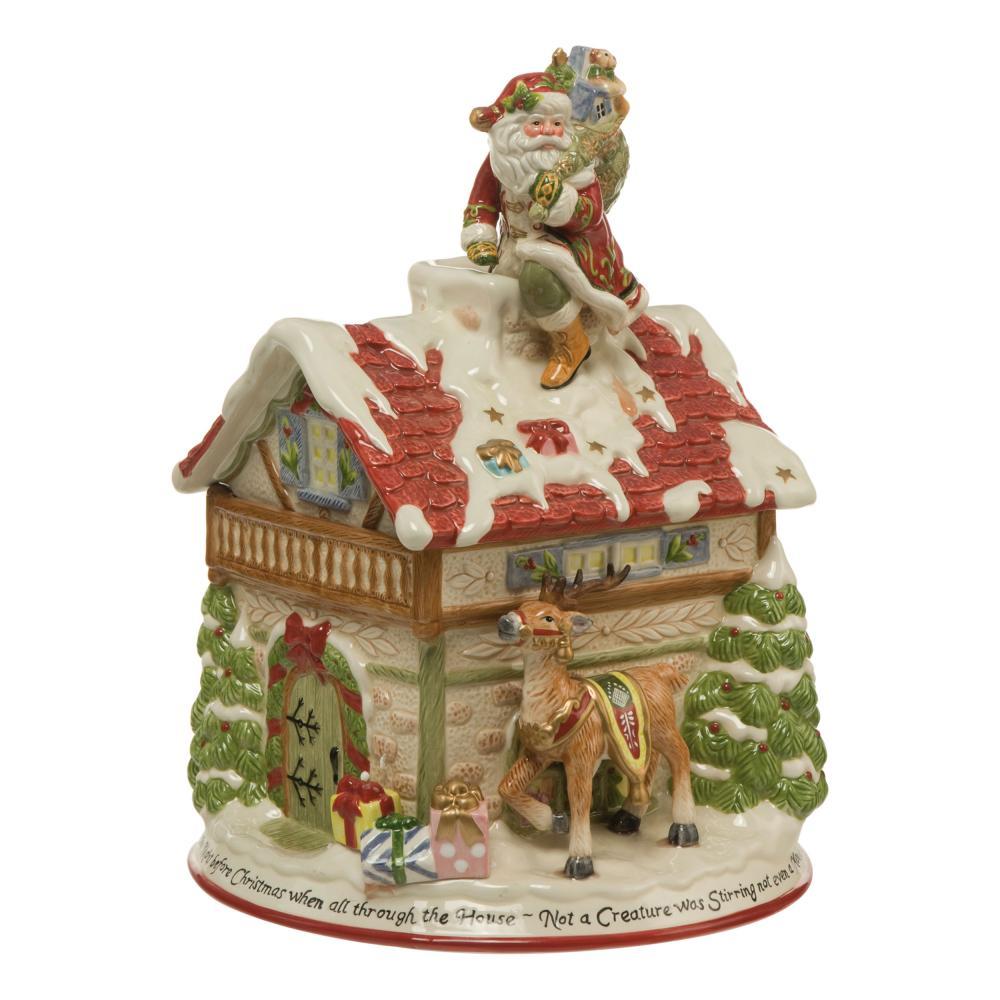 Goebel Fitz And Floyd casa lata casa lata de Navidad decoración de porcelana 35.5cm