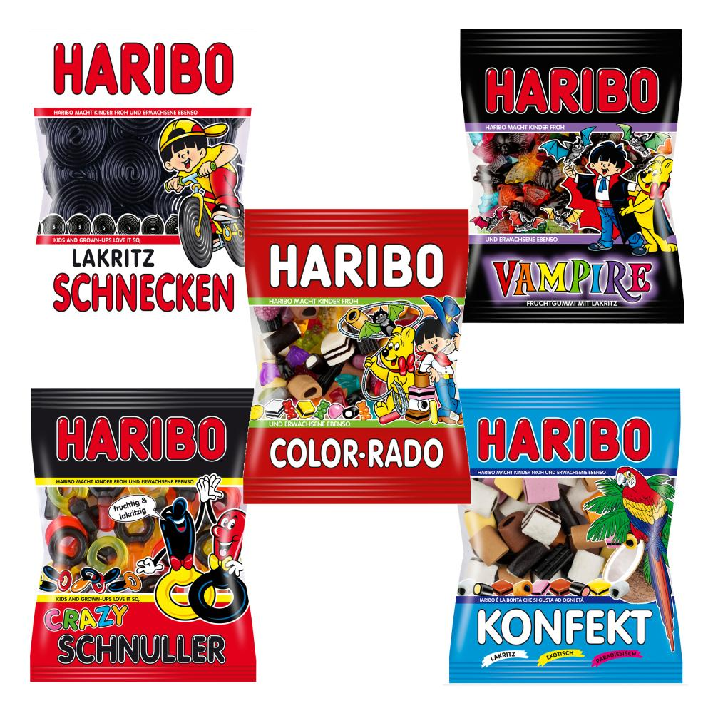 Haribo Lakritz Probierset Beutel Salino Schnecken Konfekt Schnuller Color-Rado