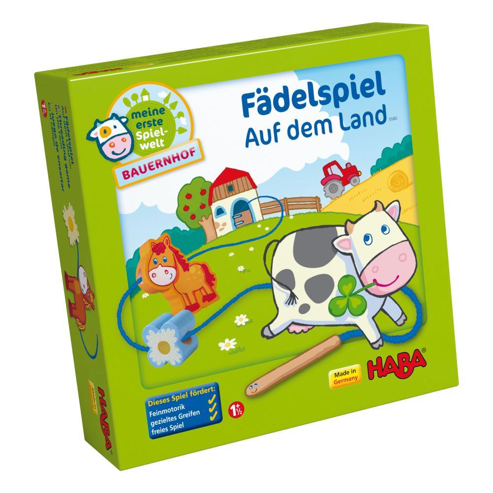 HABA Fädelspiel Auf dem Lande 15-tlg. Fädel Spiele Kinderspiele Spiel Spielzeug