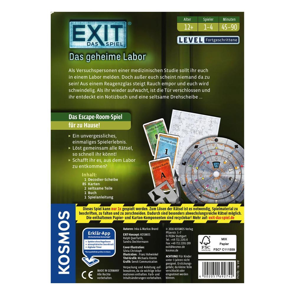 KOSMOS Exit Das Spiel Das geheime Labor Escape-Spiel Escape Spiel ab 12J 692742