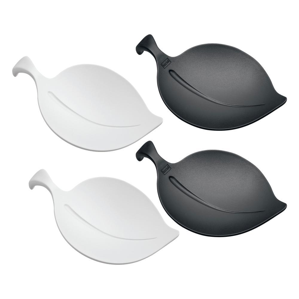 Koziol Leaf-On 4er Set Schale Snackschale Blattform 2.6cm Schwarz Weiß 3556496