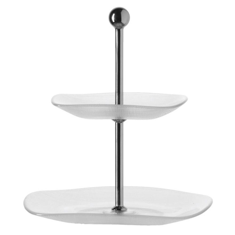 Leonardo-Beletage-Etagere-2tlg-eckig-Servierplatte-Servierteller-Glas-31165