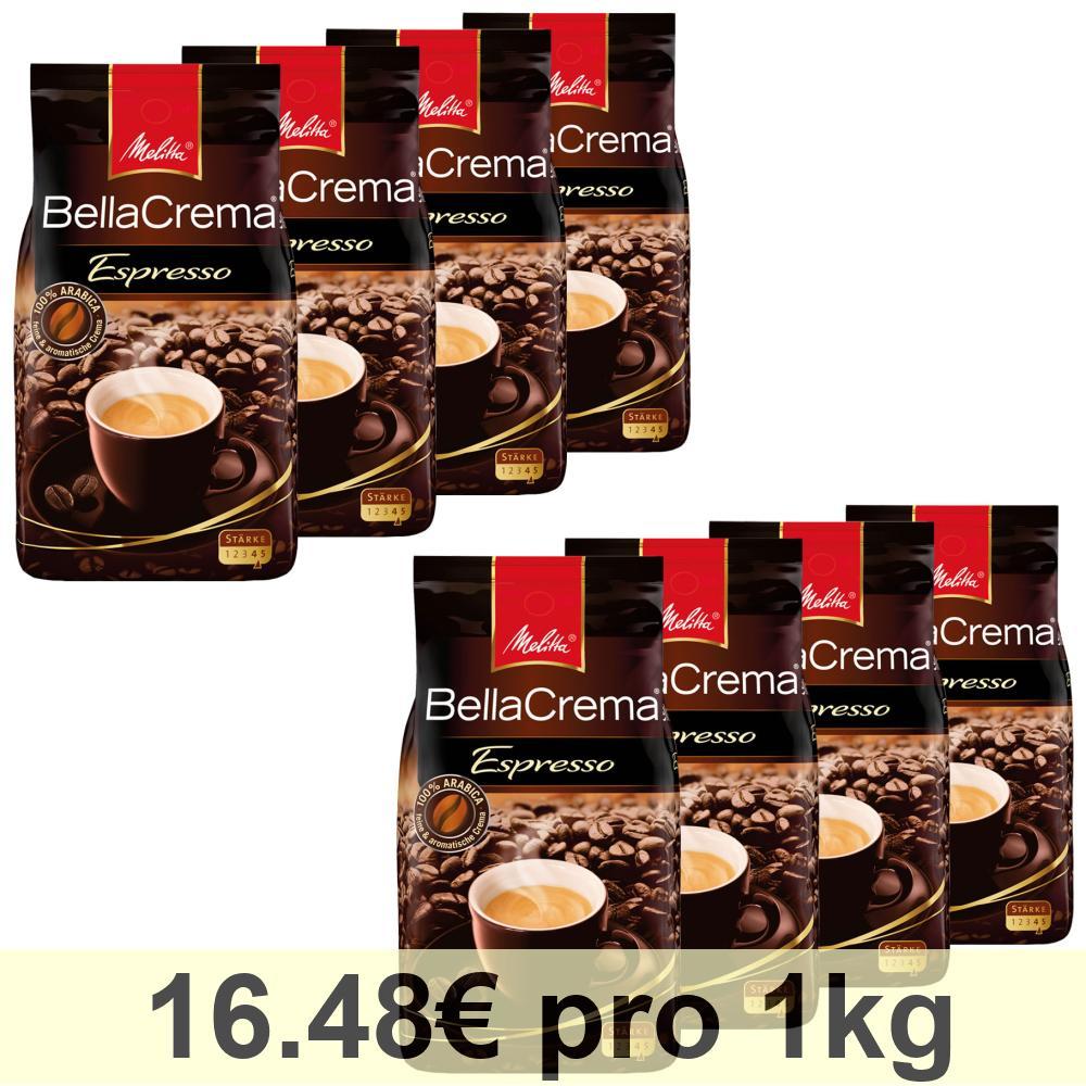 Melitta BellaCrema Espresso, Chicchi Interi di Caffè, Cappuccino, 8 x 1000g