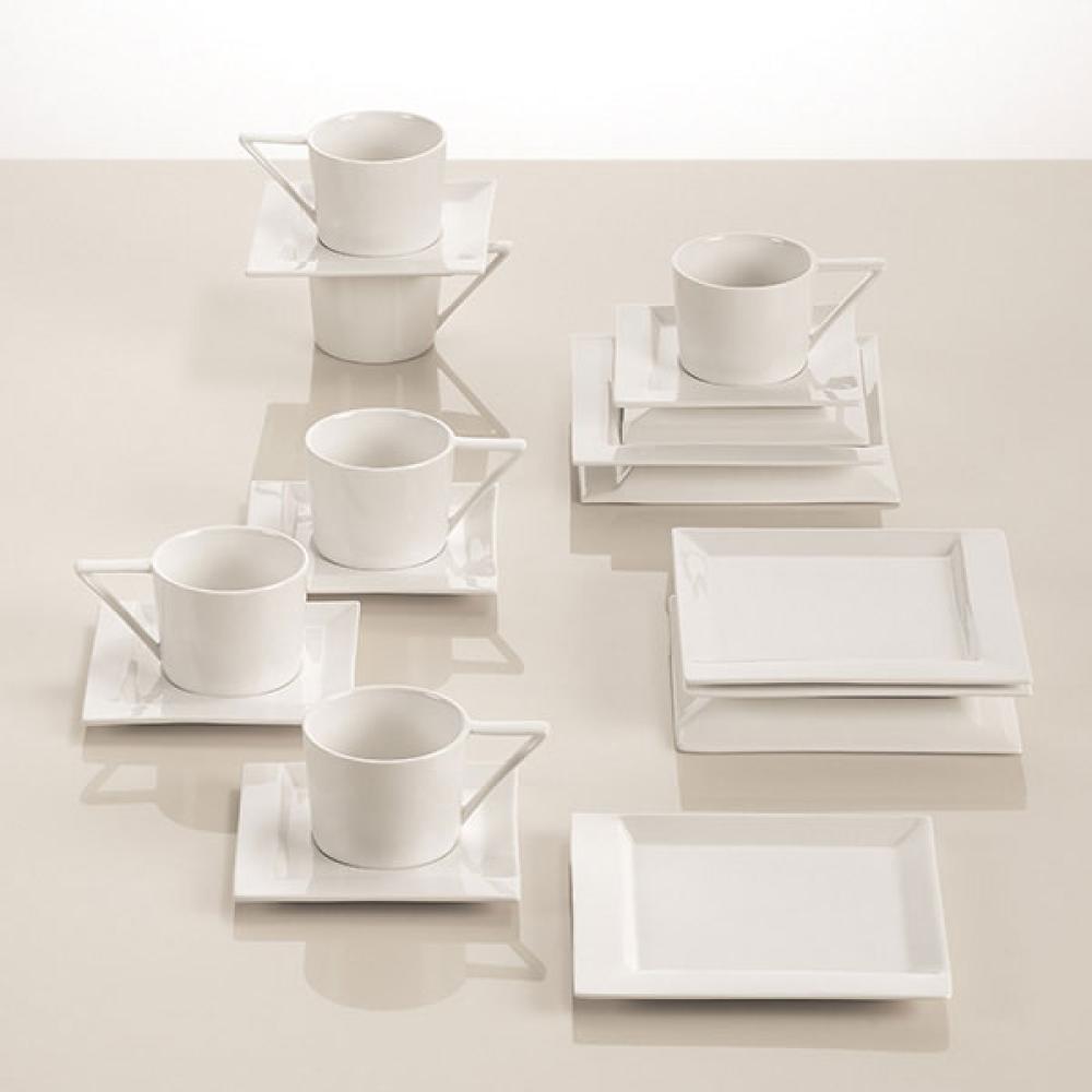Maxwell & Williams ZiiZ Kaffee Set, 6 Tassen & 6 Kuchenteller, Porzellan 18-tlg.