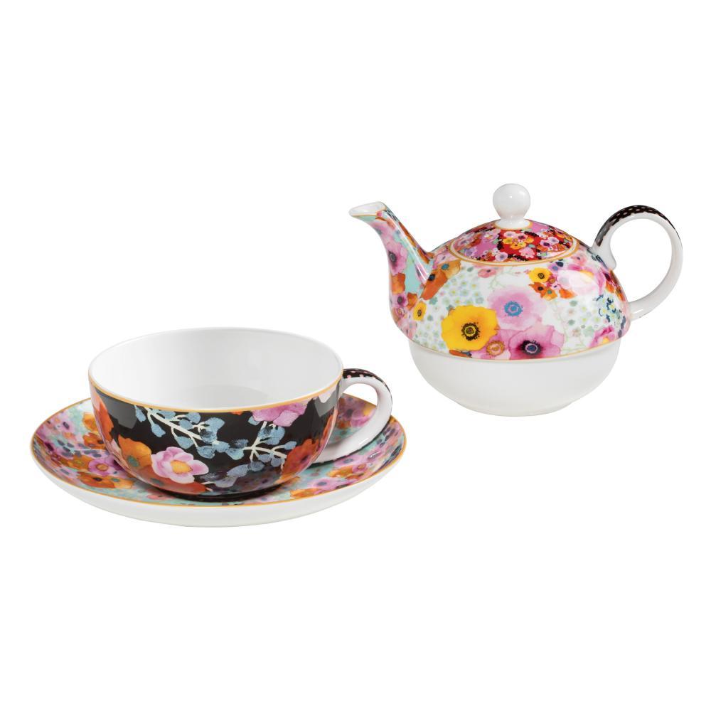 Maxwell & Williams Bloems Teeservice Tasse + Untertasse + Teekanne Porzellan