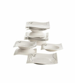 Maxwell & Williams Leaves-in-Motion Dinner Set GB, 12 pcs, Porcelain ...