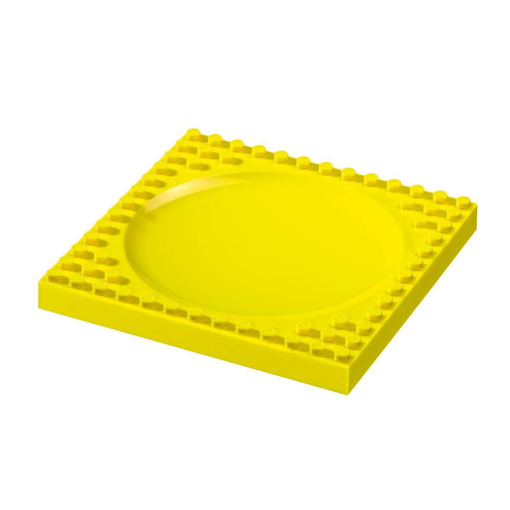 Placematix Assiette Plate Jaune pour Enfants, Jeux de Construction, PM104001A