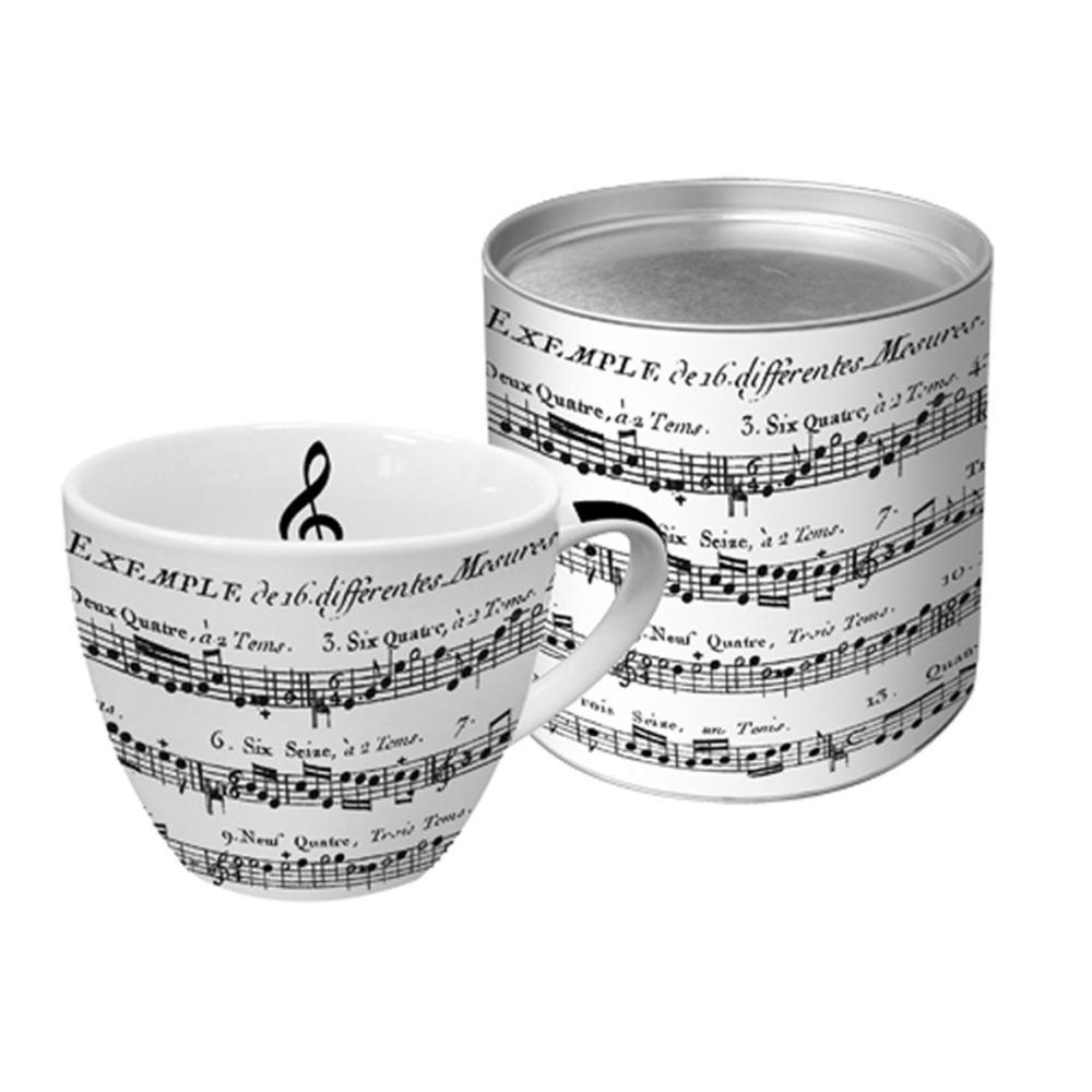 PPD Adagio Porzellantasse Groß Kaffeebecher Tasse Teetasse Weiß Schwarz 450 ml