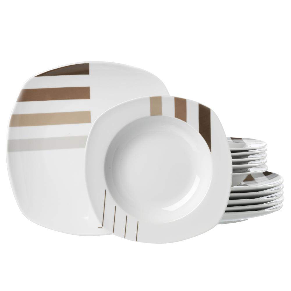Service-de-Table-Ritzenhoff-amp-Breker-Moreno-Blanc-Marron-Porcelaine-12-Pieces