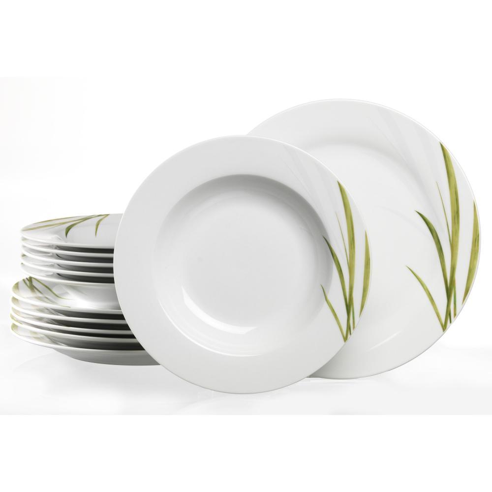 Service-de-Table-Ritzenhoff-amp-Breker-Aveda-Blanc-Vert-Herbe-Porcelaine-12-Pieces