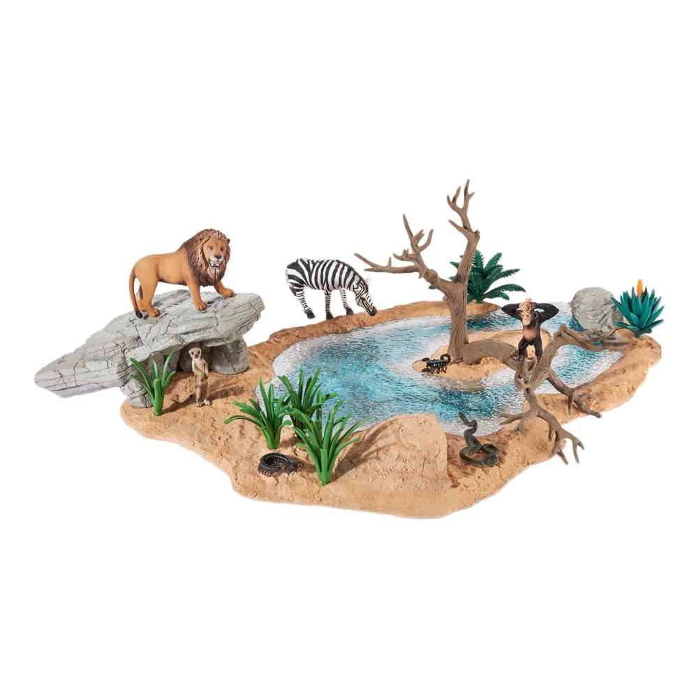 Schleich-Wild-Life-Wasserstelle-Wasser-Stelle-Loewe-Zebra-Tiere-Spielzubehoer
