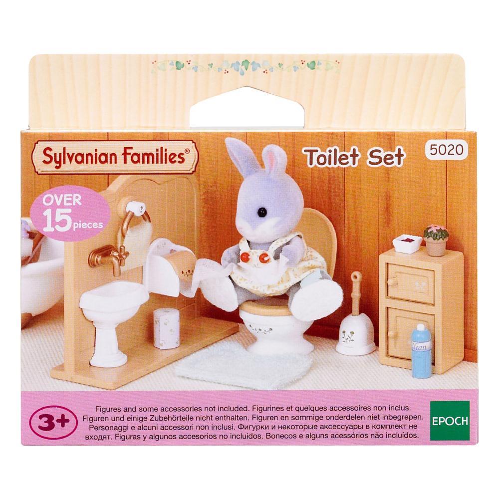 Sylvanian Families Toilet Set Furniture Bath Furniture Set H 4.9 cm W 11.4 cm