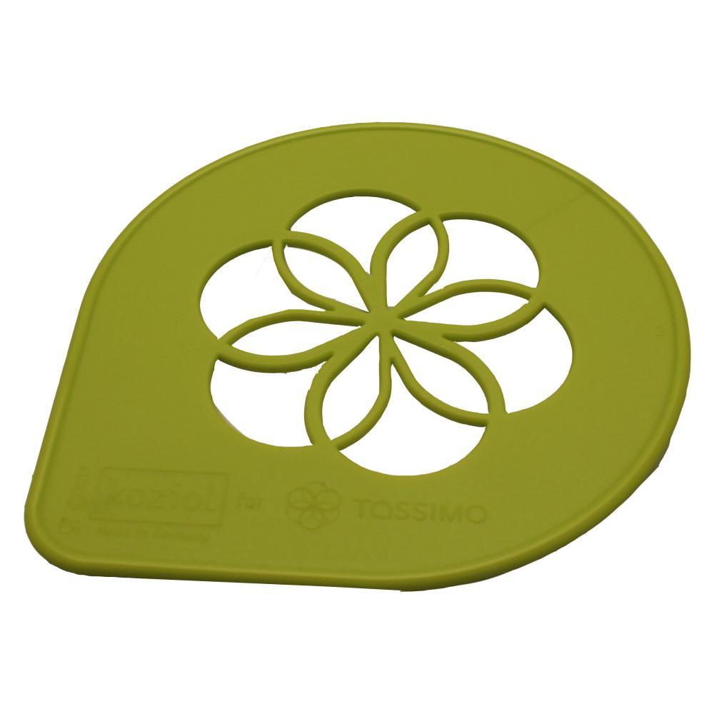 Tassimo Koziol Stencil, Logo, Deco, Flowers, Motif for Coffee, Green, Ø 9.5 cm