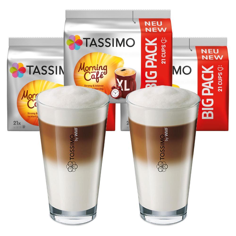 Tassimo Morning Cafe Xl Geschenkset Mit Glas 5 Tlg Kaffee