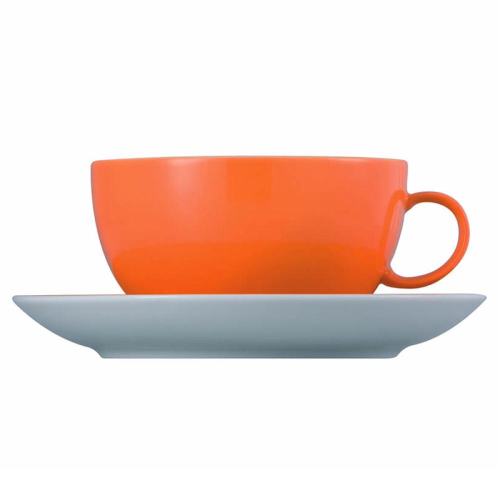 Thomas-Sunny-Day-Tasse-a-Cappuccino-avec-Soucoupe-Porcelaine-Orange-38-cl-2-pces