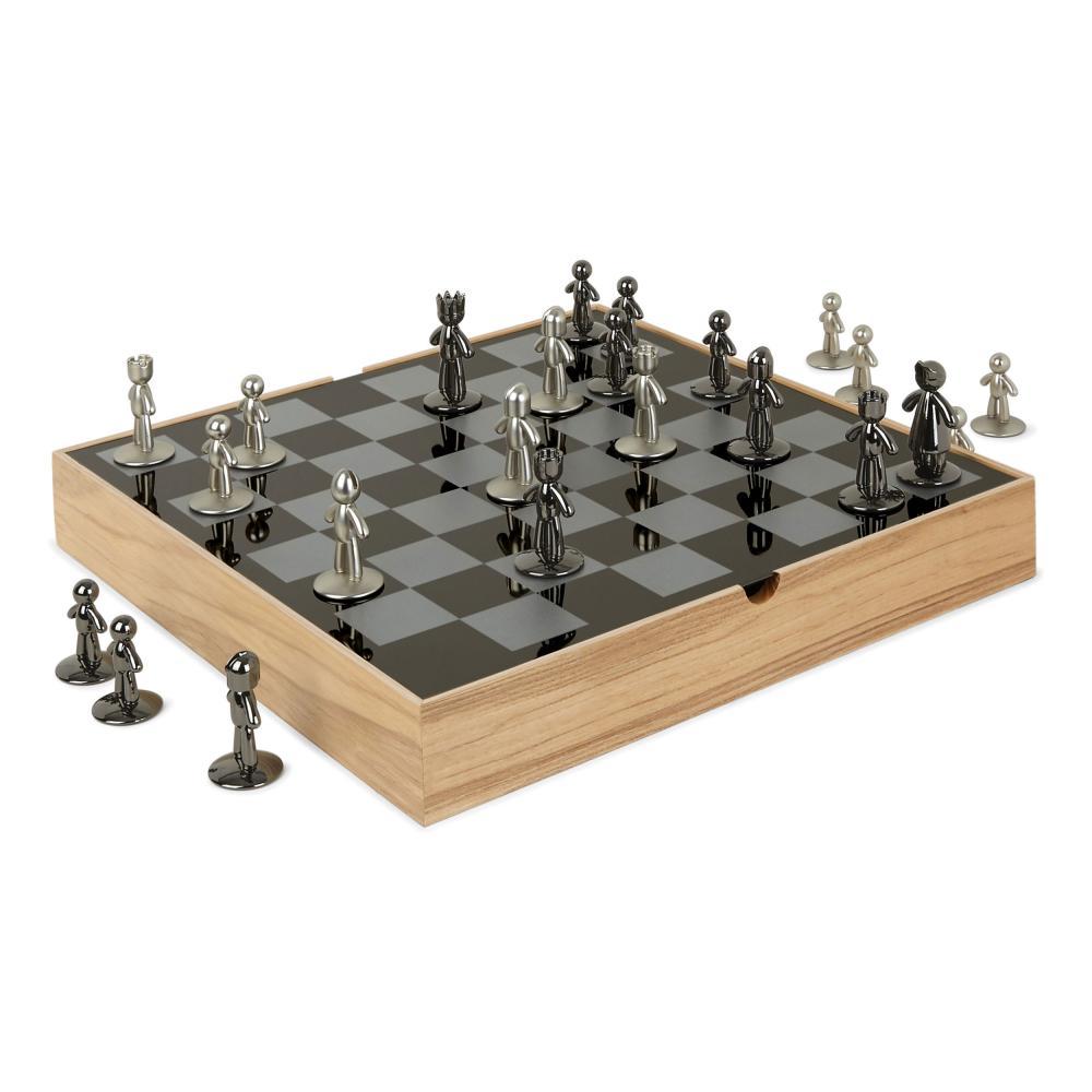 Umbra-BUDDY-scacchiera-gioco-degli-scacchi-giocattolo-gioco-degli-scacchi-in-legno-naturale-36-cm miniatura 2