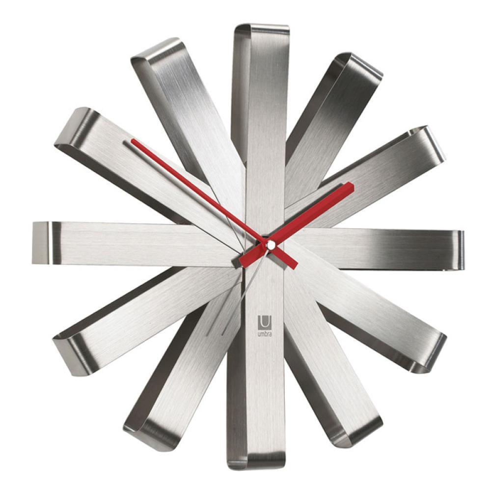 Küchenuhr Umbra Wall Display Ribbon Wanduhr Uhr Edelstahl Stahl Wohnzimmeruhr
