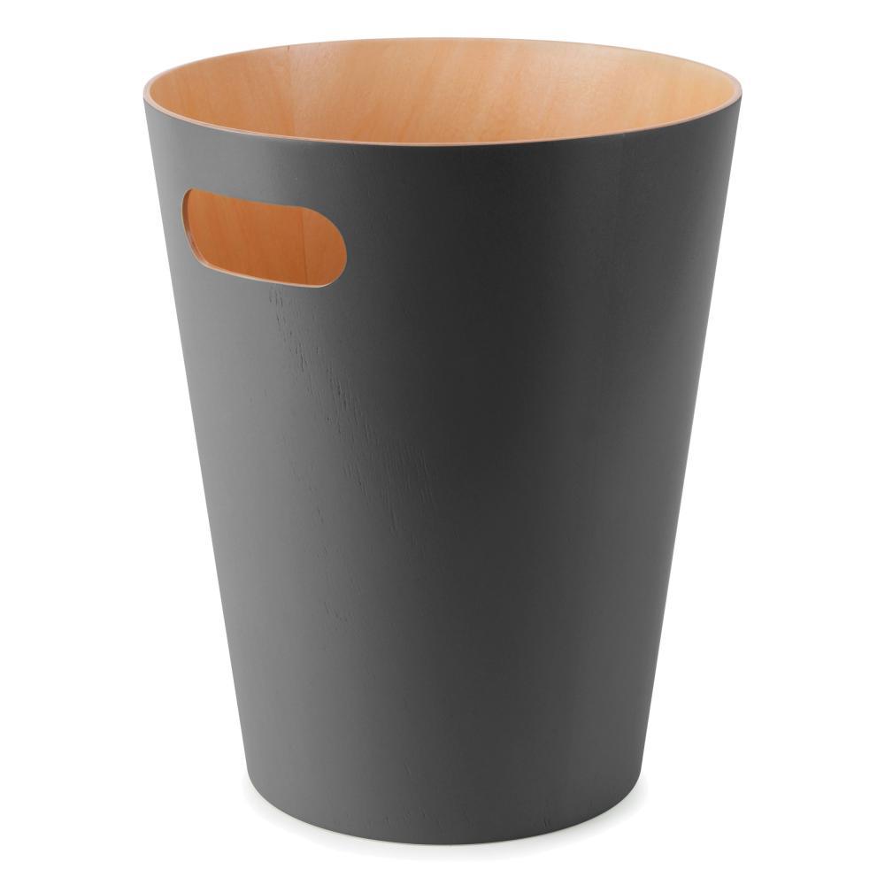 Umbra Woodrow Abfalleimer Abfall Eimer Abfallkorb Papierkorb Holz Anthrazit 7.5L