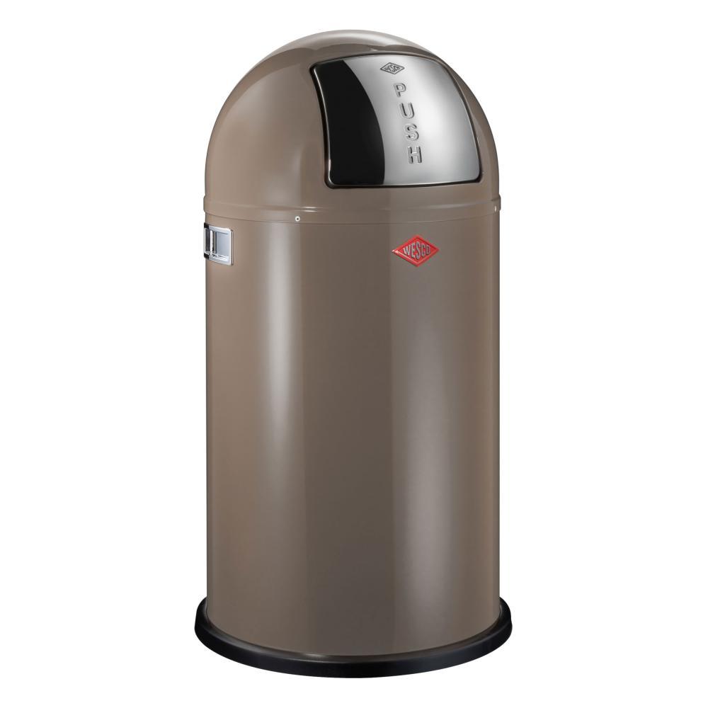 Wesco-Muelleimer-Pushboy-Push-Abfalleimer-Abfallsammler-Stahlblech-Warm-Grey-50-L