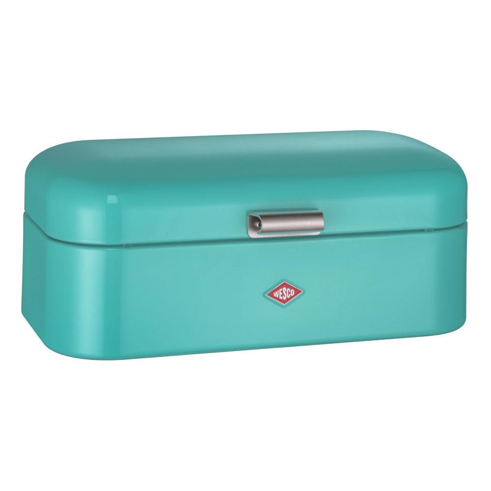 Wesco-Breadbox-Grandy-fruhstucksbox-Lunch-Box-Butter-Bread-Box-Turquoise-Sheet-Steel
