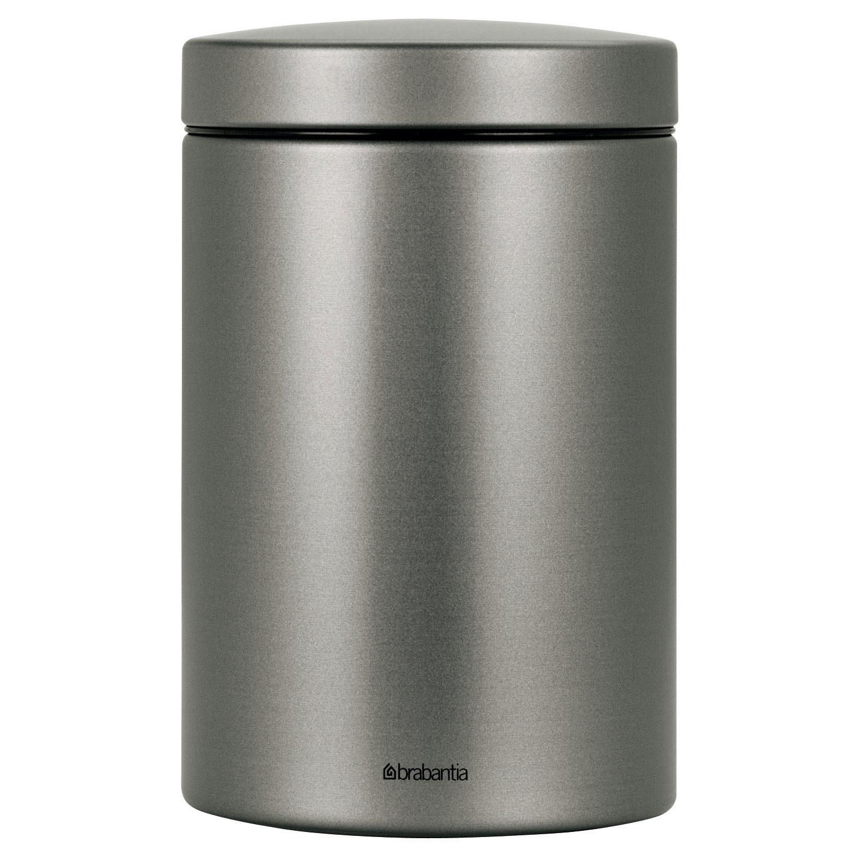 brabantia round canister metal platinum 1 4 litre 288401 at about tea de shop about tea coffee shop