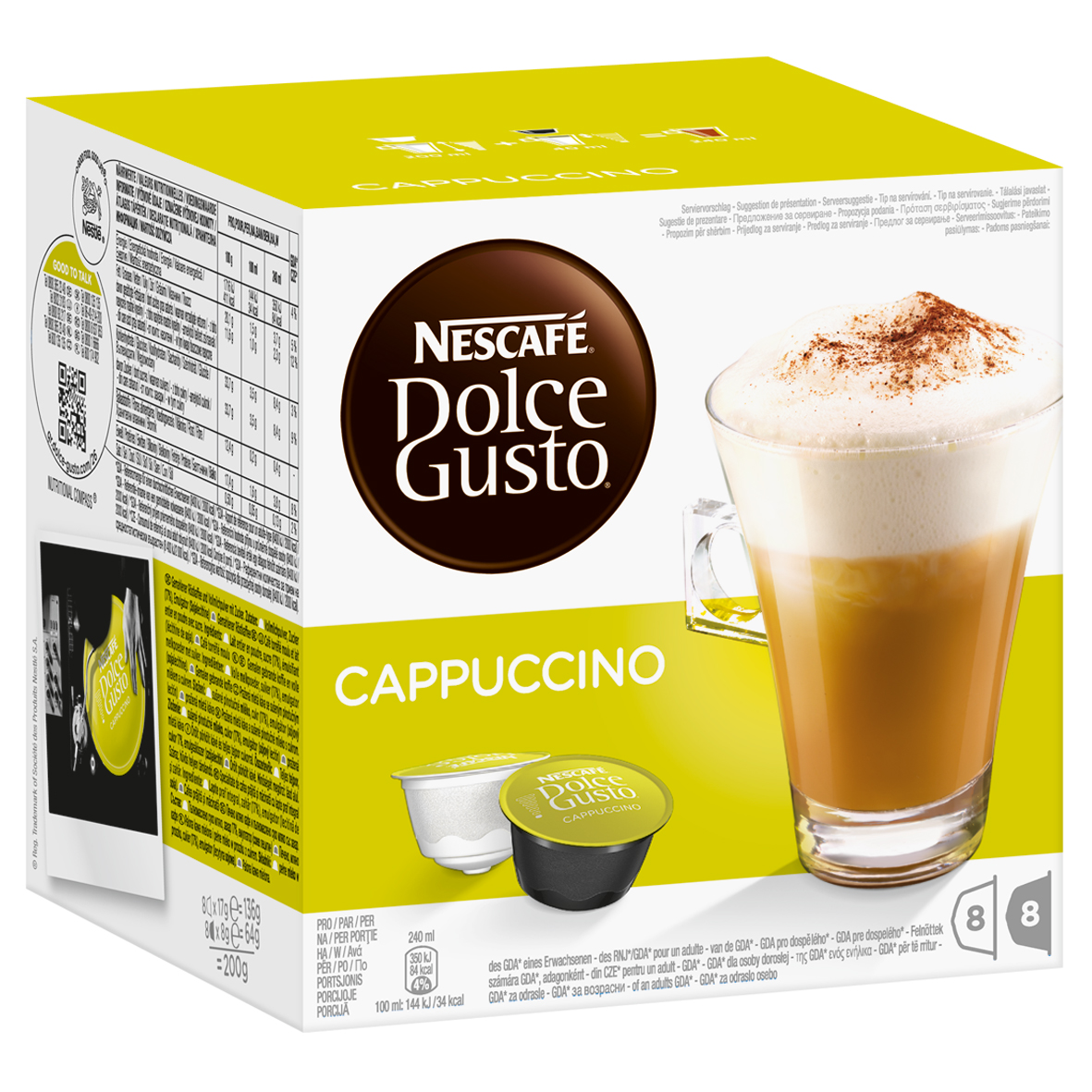 nescaf dolce gusto cappuccino 16 capsules 8 servings. Black Bedroom Furniture Sets. Home Design Ideas