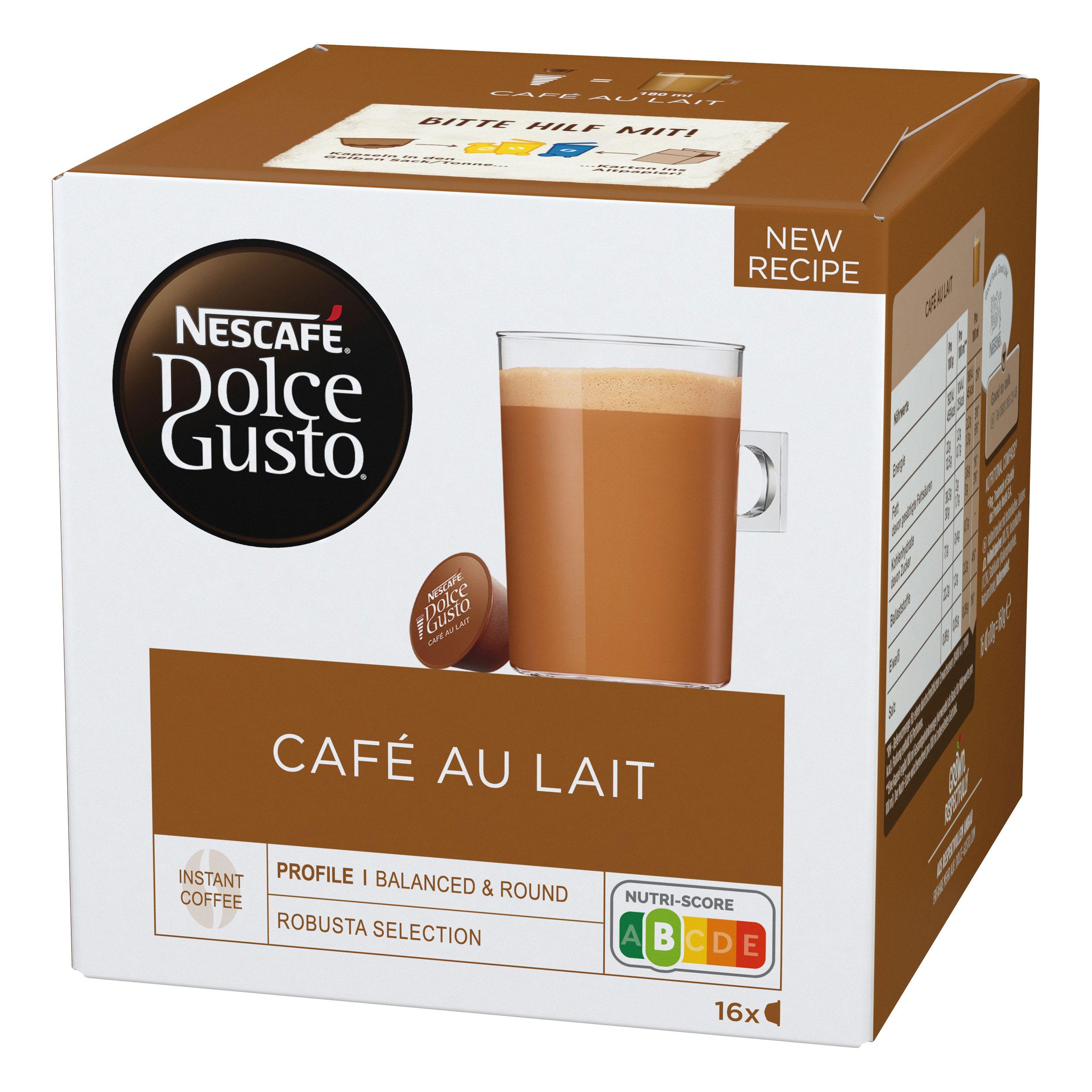 nescaf dolce gusto caf au lait 16 capsules at about shop. Black Bedroom Furniture Sets. Home Design Ideas