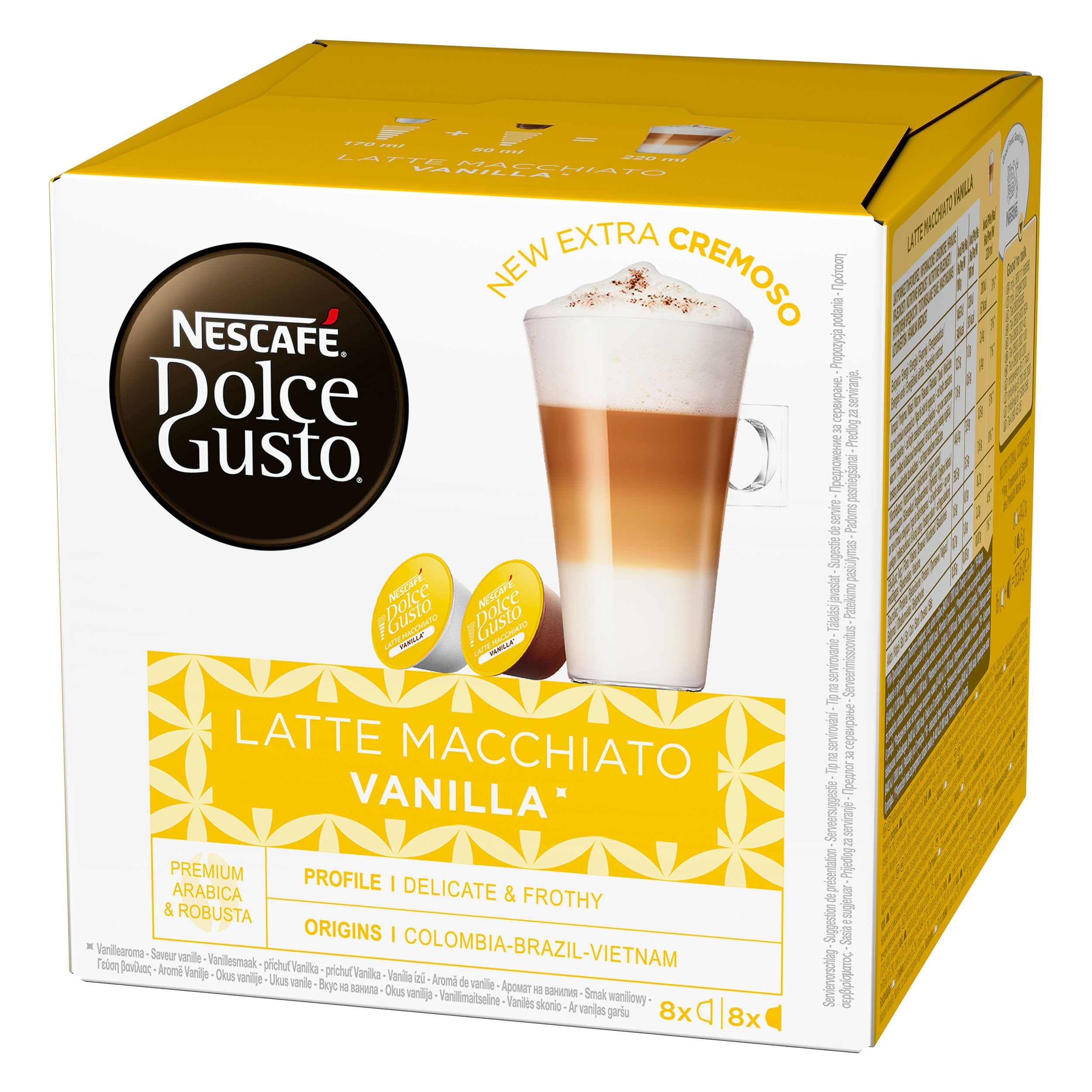 nescaf dolce gusto latte macchiato vanilla 16 capsules 8 servings at about shop. Black Bedroom Furniture Sets. Home Design Ideas