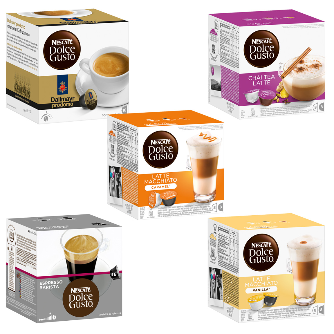 nescaf dolce gusto capsules exotic set 5 varieties 5 x 16 capsules at about shop. Black Bedroom Furniture Sets. Home Design Ideas