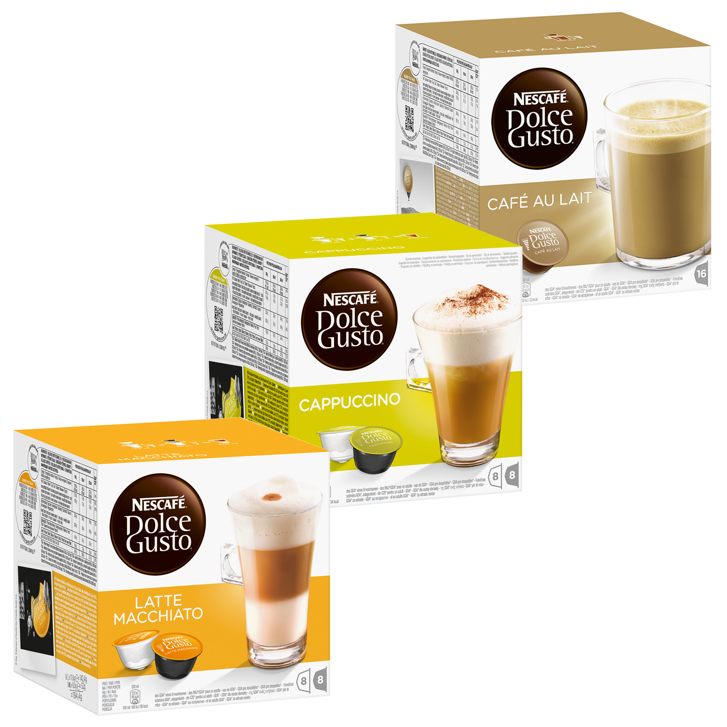nescaf dolce gusto cream set latte macchiato cappuccino au lait 3 x 16 capsules at about. Black Bedroom Furniture Sets. Home Design Ideas