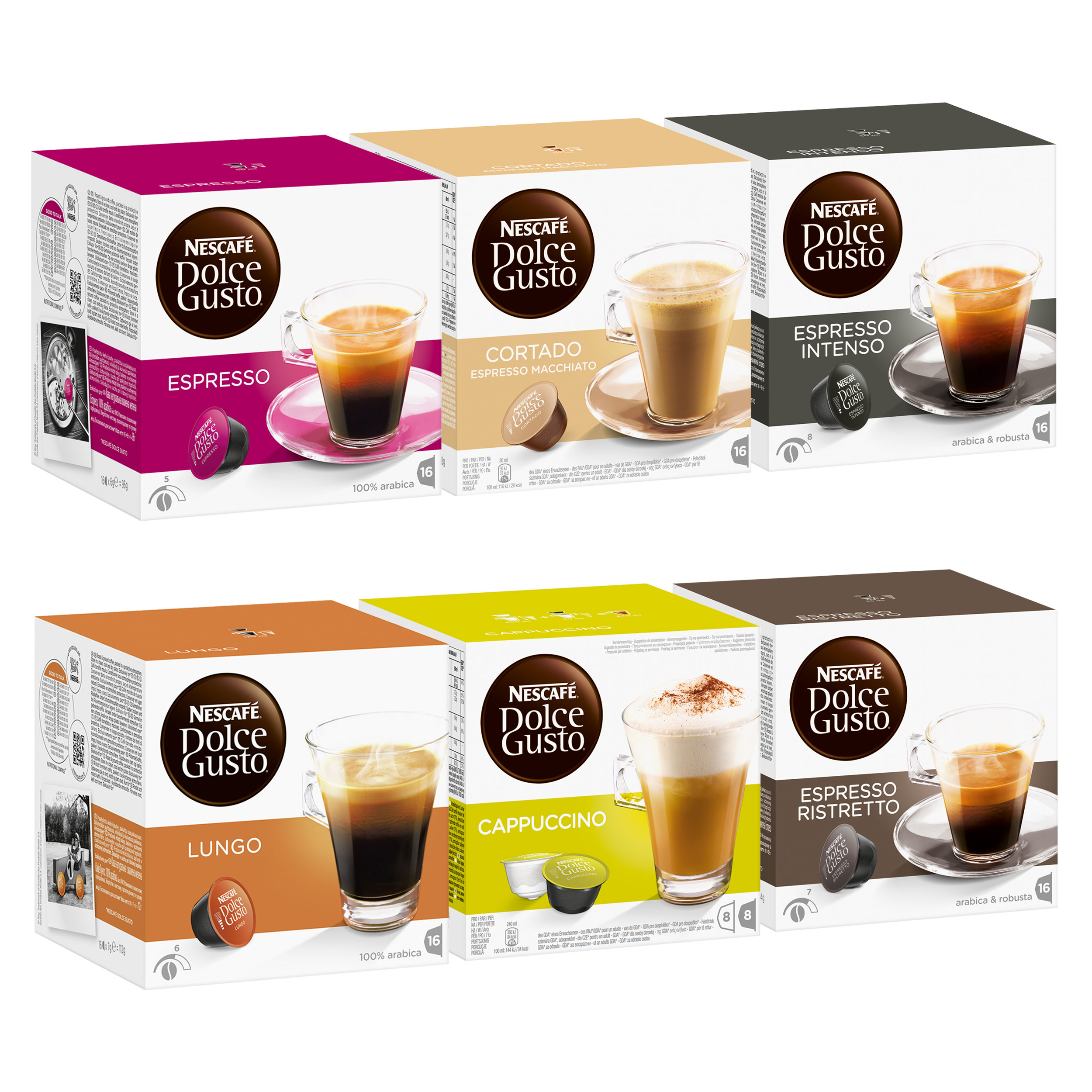 nescaf dolce gusto italian style set 6 x 16 capsules at about shop. Black Bedroom Furniture Sets. Home Design Ideas
