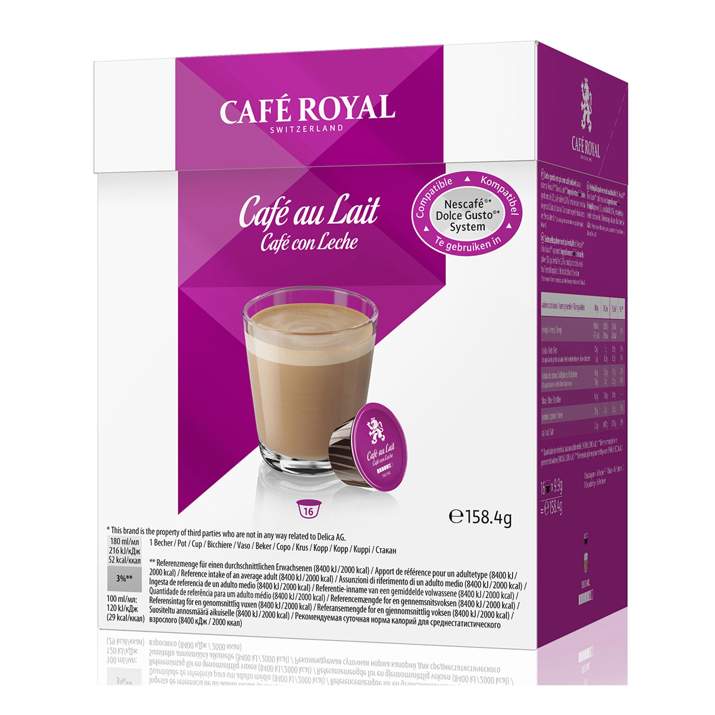 Café Royal Cafè Au Lait Set Of 6 Coffee Milk Coffee Capsules Nescafé Dolce Gusto Compatible Magenta 96 Capsules At About Tea De Shop