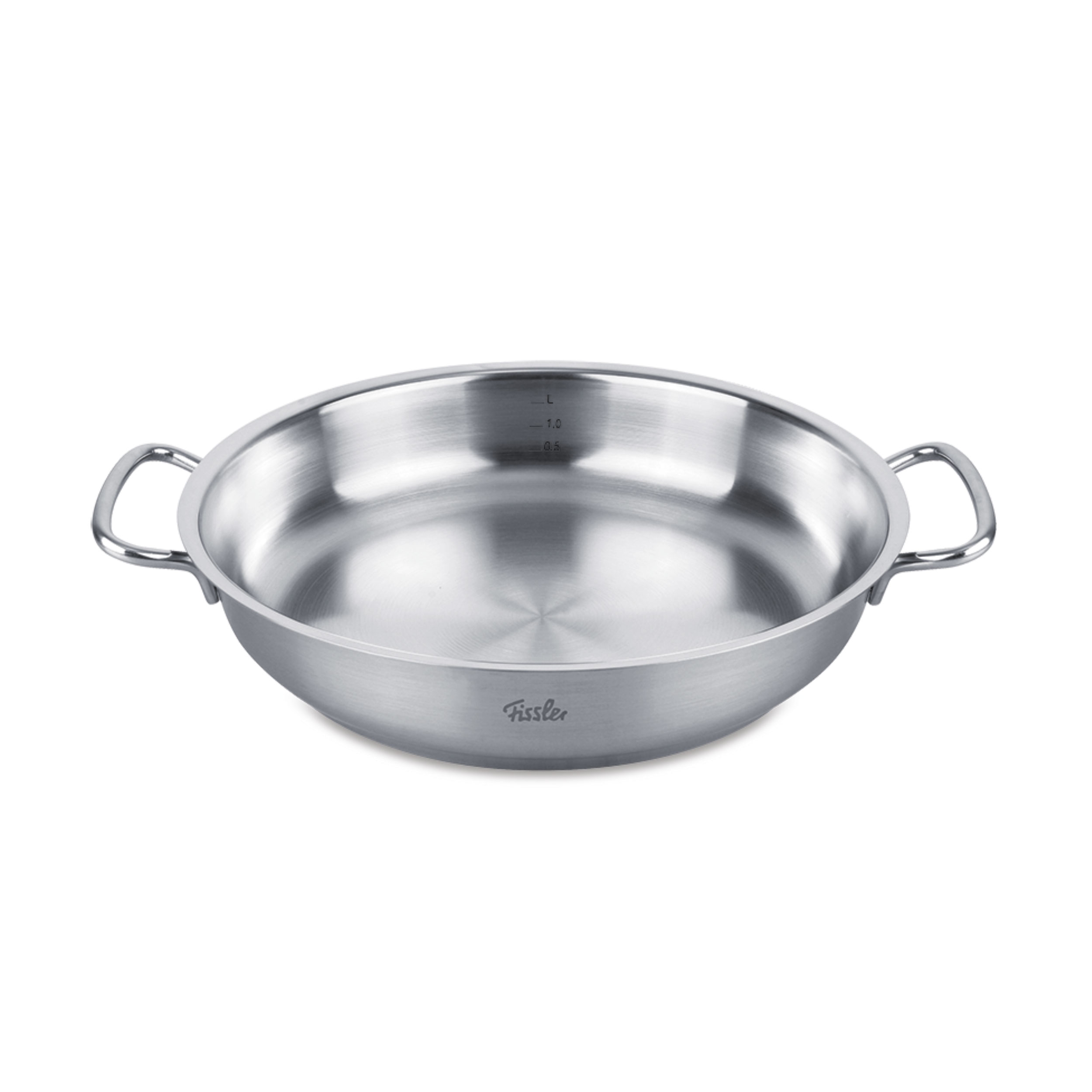 fissler original profi collection stainless steel serving pan induction 28 cm at about tea. Black Bedroom Furniture Sets. Home Design Ideas