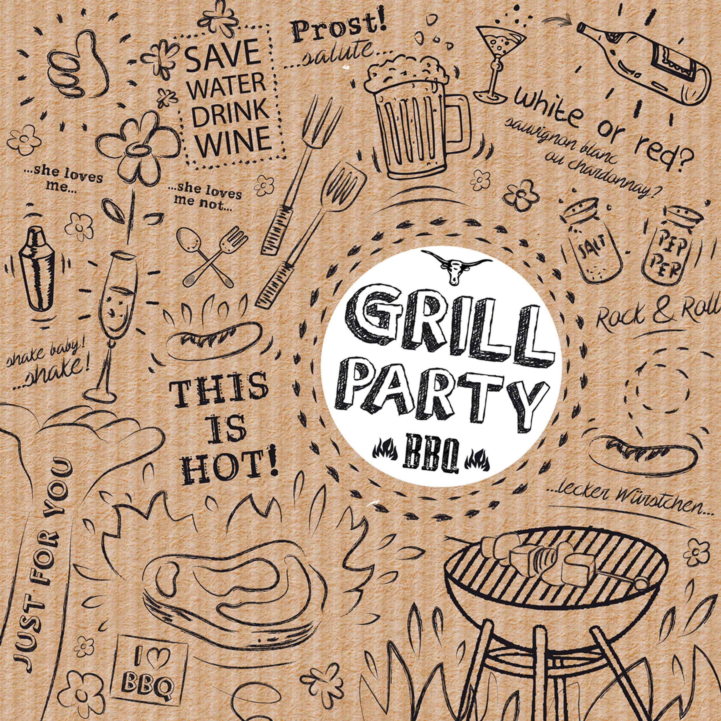 PPD Grill /& Party Brown Tisch Servietten 20 Stück Tissue Braun Weiß 33x33 cm