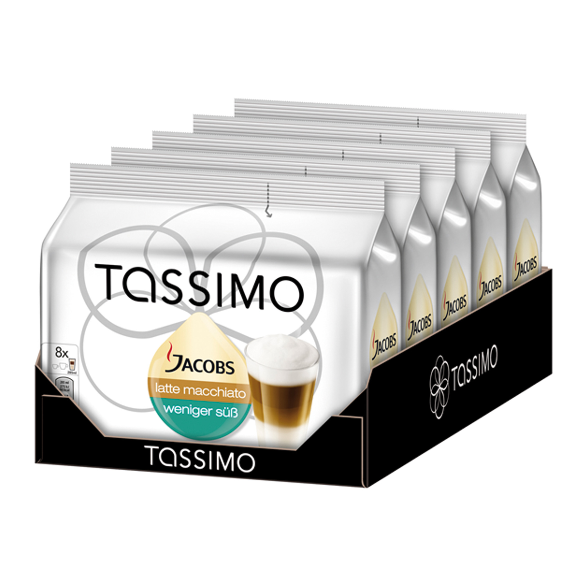 tassimo latte macchiato less sugar rainforest alliance certified pack of 5 5 x 16 t discs 8. Black Bedroom Furniture Sets. Home Design Ideas